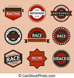 Racing badges, vintage style. Vector illustration
