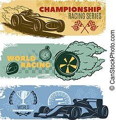Racing Banner Set - Three colored horizontal racing banner...