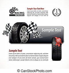Racing banner. Text