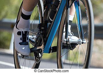 Closeup of racing bicycle