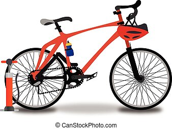 Racing Bicycle, illustration - Racing Bicycle, Red and...