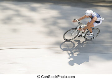 Racing bicycles - Cycling race with representation runner...
