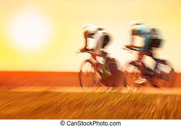 Racing bicycles, motion blur