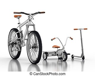 racing bike with a children's bikes and scooters