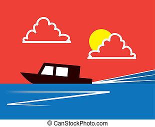 Racing Boat Speeding
