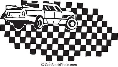 Racing car and checkered flag. Vector illustration.