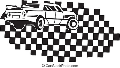 Racing car and checkered flag. Vector illustration.