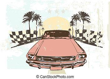 racing car - Vector illustration - High speed racing car on...