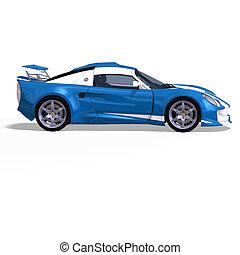 racing car fantasy blue white