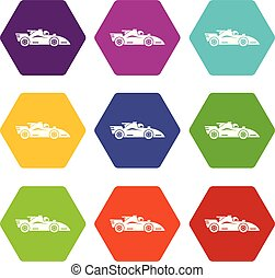Racing car icons set 9 vector