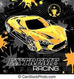Racing car on a black background. Vector illustration