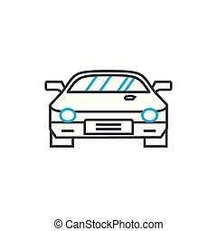 Racing car vector thin line stroke icon. Racing car outline illustration, linear sign, symbol concept.