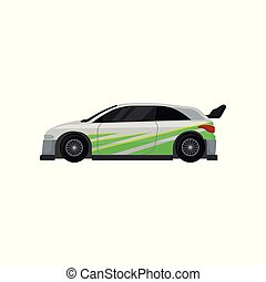 Racing car with tinted windows, spoiler and green stickers. Autosport theme. Flat vector for mobile game or promo poster of tuning service