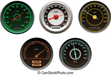 Racing cars speedometers set