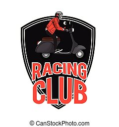 Racing Club Man Riding Vespa Background Vector Image
