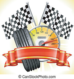 Racing Concept - Speedometer with Flags, Tire and Ribbon,...