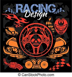 Racing design - vector elements for emblem.