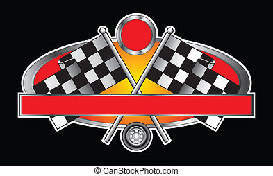 Illustration of a Racing Design with race flags, wheel, banner for your text and open circle for the car number. Great for t-shirts.
