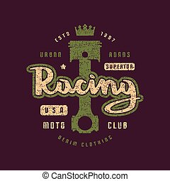 Racing emblem for t-shirt