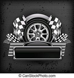 Racing emblem on black & text