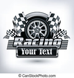 Racing emblem, crossed checkered flags, wheel & text on white, vector illustration