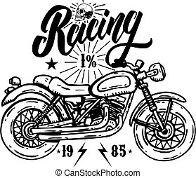 Racing. Emblem template with biker motorcycle. Design element for poster, t shirt, sign, label, logo.