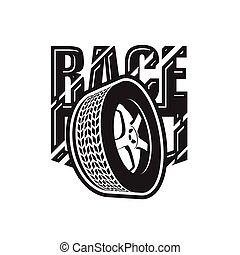 Racing emblem with tire, car wheel rim and tyre icon, race label or badge, vector