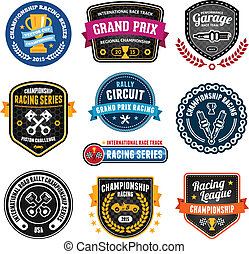 Racing emblems - Set of car racing emblems and championship...