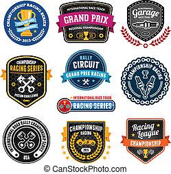 Racing emblems - Set of car racing emblems and championship...