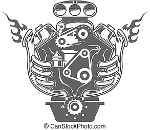 Racing engine - Hand-drawn Racing car engine, front view