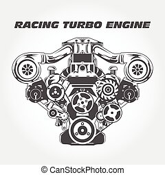 Racing engine with supercharger power - turbo motor