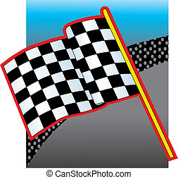 Racing Flag and Crow - Racing Flag with a crowd in the...