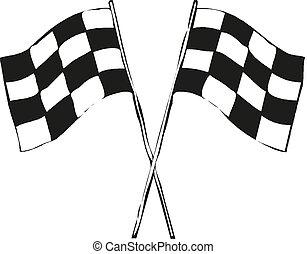 Racing flag icon. Vector illustration, flat design.
