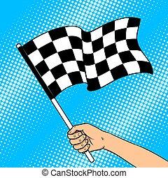 Racing flag in hand pop art vector illustration
