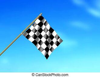 Racing Flag Waving under Blue Sky