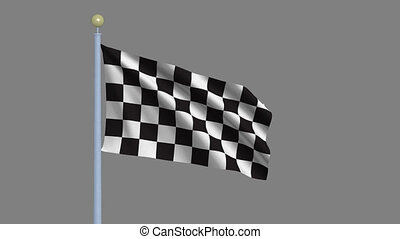 Racing flag with alpha matte - Racing flag waving in the...