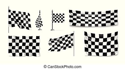 Racing flags set realistic