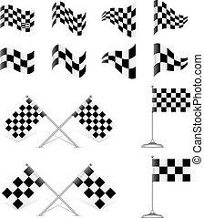 Racing Flags, vector set. Rotating 45 degree