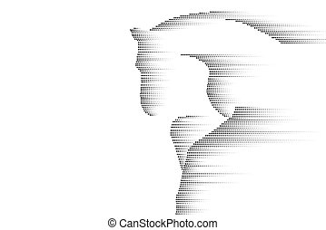 Racing galloping running horse. Abstract black sketch design isolated on white. Mustang silhouette line point dots fast speed concept vector illustration