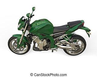 Racing green modern motorcycle - top down side view