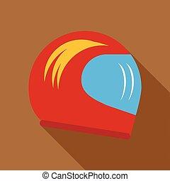 Racing helmet icon in flat style