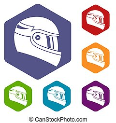 Racing helmet icons set