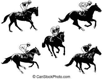 racing horses and jockeys