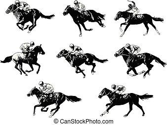 racing horses and jockeys sketch