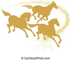 Racing horses - Golden horses running trough the stars,...