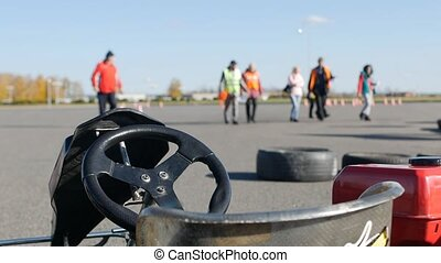 Racing karting close-up, karting competitions, in the...