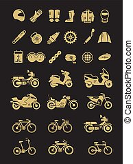 Racing motorcycle, bicycle, motorbike parts and transportation vector icons