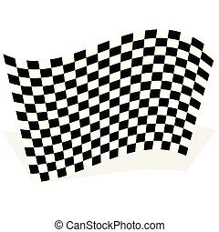 Racing, race flag element isolated on white with shadow