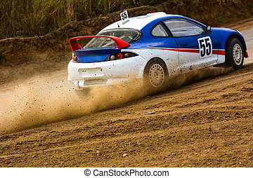 Racing speed car on a dusty road. The competition in...
