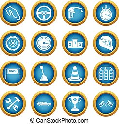 Racing speed icons blue circle set